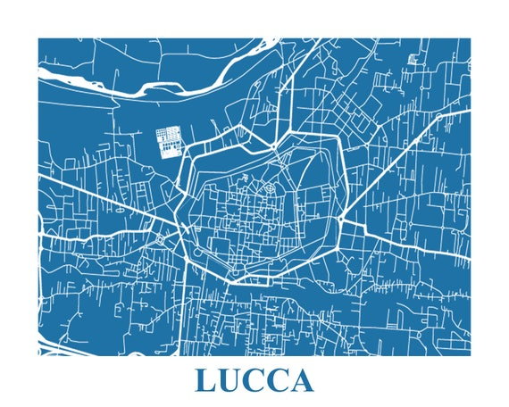 Lucca Italy Map Print Lucca Poster Title Map