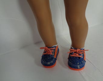 """Denim and orange Canvas sneakers Tennis SHOES for 18"""" Dolls..Shown on my american girl doll"""