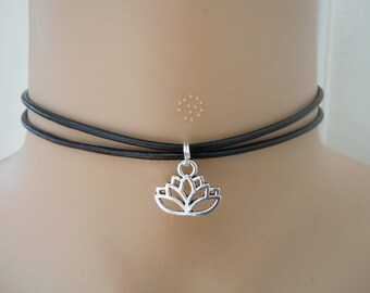 Silver Lotus Choker Boho Yoga Necklace Black Leather Gift For Friend Sister Mother Girls Women Graduation Gifts Namaste Mothers Day