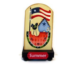Primitive Americana Flag, Birdhouse, Watermelon Shelf Sitter, Handpainted Wood, Hand Painted Prim Decor, Tole Decorative Painting