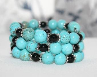 Turquoise Magnesite Bracelet, Turquoise Memory Wire Bracelet, Beaded Southwestern Wrap Bracelet, Southwestern Jewelry, Women's Jewelry