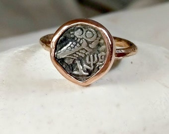 Ancient Coin  Statement Ring , Solid rose gold and Athena owl coin ring, 14 kt gold owl ring, Ancient coin Jewelry