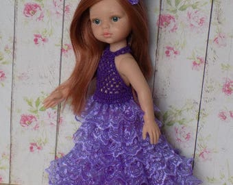 Outfit for dolls Paola Reina 13 inch: holiday dress, hair band