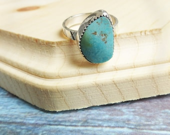 Turquoise Ring, Turquoise Jewelry, Size 6 Ready to Ship, December Birthstone Ring, Gift for Her, Morenci Turquoise, Bohemian Gypsy Bride