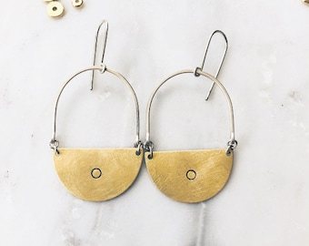 Gold and Silver Half Circle Dot Earrings