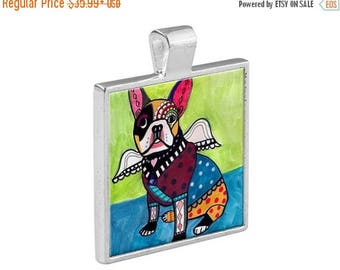French Bulldog Angel Necklace Dog Folk Art Jewelry - Pendant Metal  Gift Art Heather Galler Gift-  Dog Lovers Abstract Modern