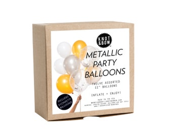 Metallic Party Balloons / Includes 3 Confetti Balloons / 12 count