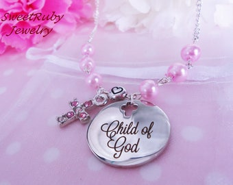 Child Of God * Rhinestone Cross Charm Chain Necklace - Baptism/Christian/First Communion - Custom Design Available