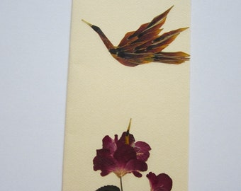"""Handmade unique greeting card """"To fly or to peep"""" - Pressed flowers greeting card - Unique gift - Art card - Original art collage."""