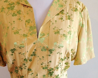 Vintage 1950s Yellow Asian Cherry Blossom Yellow Dress Size Small Mid Century