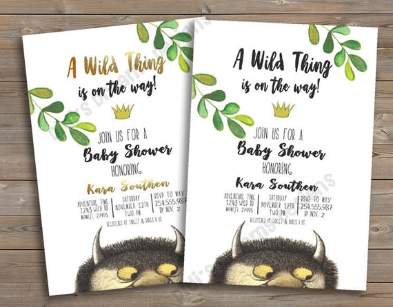 Where the Wild Things Are Baby Shower Birthday Invitation