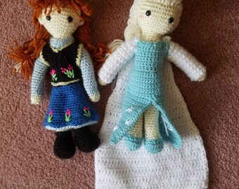 Elsa and Anna Frozen inspired dolls