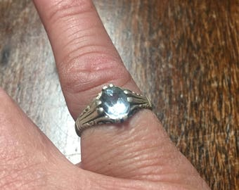 Sterling Ring  Approx. Size 8 1/2 ~ No Idea Of The Stone ~ Very Elegant