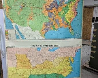 Vintage Schoolroom Pull down Map - Westward Movement in US #6