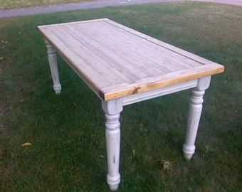 Rustic Table, Farmhouse Table, Farmers Table, Leg Table, Dining Table, Kitchen Table (Reclaimed Wood)