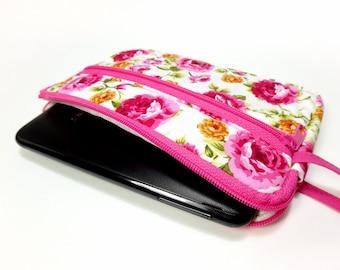 Fuchsia floral zipper pouch, Wristlet wallet, Cosmetic bag, Cell phone bag, iPhone wallet case, Floral wristlet
