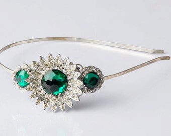 Handcrafted Emerald Green and Silver Vintage Jewelry Headband - Adult Headband - Vintage Jewelry - Emerald Wedding - Green Bridal Headband