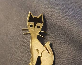 Vintage Mexican Sterling Silver & Onyx Cat Brooch