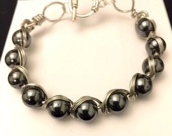 Wire and Hematite Gemstone Bracelet