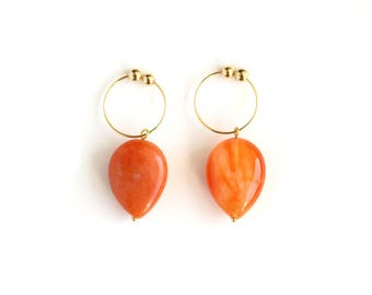 Teardrop Non Pierced Earrings, Agate Jewelry