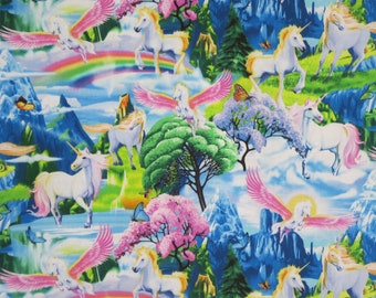 REMNANT--Colorful Unicorn Scenic with Rainbows Print Pure Cotton Fabric --1&1/3 YARD