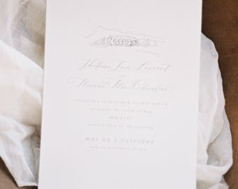 Calligraphy Wedding Invitation & Packages | Custom Calligraphy Wedding Wreath | Romantic Organic Handmade Paper Suite | The Provençal Suite