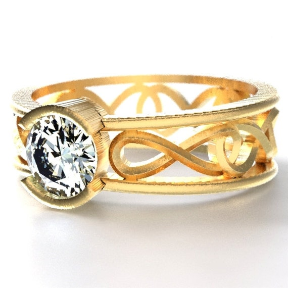 Engagement Ring in Gold with Moissanite with Infinity Knot Design in 10K 14K 18K or Palladium, Made in Your Size Cr-1027