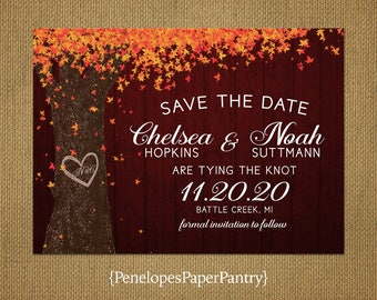Rustic Burgundy Fall Wedding Save The Date Card,Oak Tree,Carved Heart,Carved Initials,Fall Leaves,Personalize,Printed Cards,Envelopes