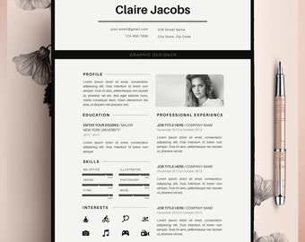 Creative Resume Template, CV Template, Instant Download, Editable in MS Word and Pages + Cover Letter Size A4 and US Letter