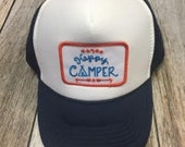Youth Navy Trucker Hat- Happy Camper Patch-Kids trucker...