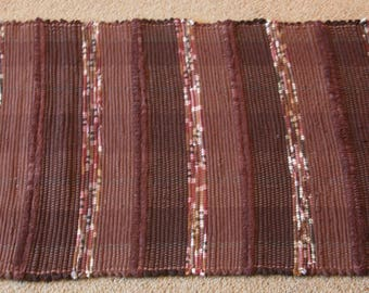Handwoven Rag Rug - Dark Browns striped - 49 inches....(#168)