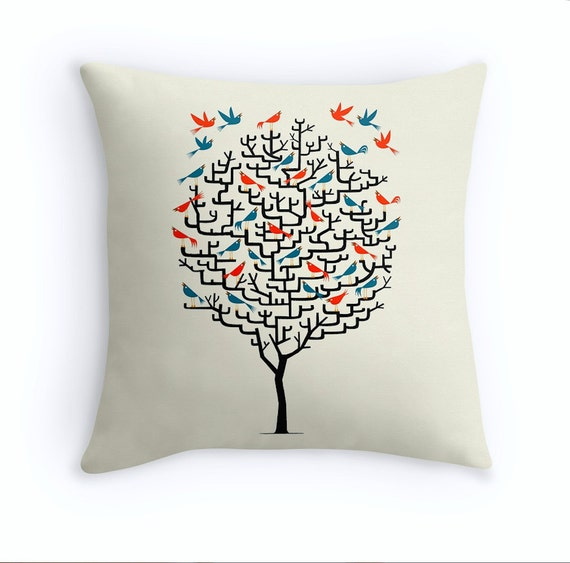 """Out On a Lark - illustrated Birds / Tree - Throw Pillow Cover / Cushion Cover (16"""" x 16"""") by Oliver Lake - iOTA iLLUSTRATION"""