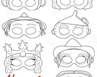 Wizard of Oz Printable Masks dorothy mask tin man mask