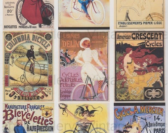 ANTIQUE BICYCLE POSTERS - Instant Download - Digital Collage Sheet - 9 Printable Images Decoupage Collage Scrapbook Gift Tags Magnets Cards