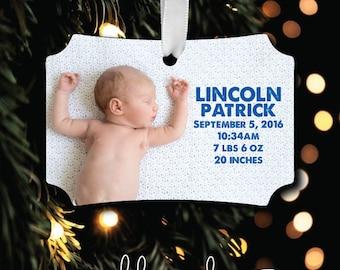 Baby Photo Ornament - Birth Ornament - Photo Personalized Photo Ornament - Monogrammed Ornament - Christmas Ornament - Gift