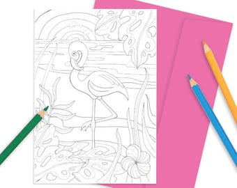 A5 Colouring Card- Fab Flamingo