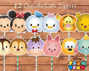 Tsum Tsum Toppers. Tsum Tsum Cake Toppers. Tsum Tsum Birthday Party. Party Supplies. Baby Shower.