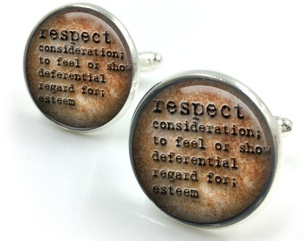 Respect Dictionary Cuff Links, Dictionary Cufflinks, Dictionary Sayings Jewelry, Respect Meaning,Stamped Jewelry, gift for men, gift for him