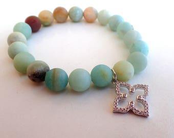 Amazonite bracelet, woman bracelet , healing bracelet Clover charm bracelet, Amazonite for her , gift for her , beaded bracelet woman