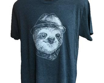 Sloth T-Shirt, Men's Sloth Head T-Shirt, Women's Sloth Face T-Shirt, Funny Sloth with Hat Screen-Print Tee