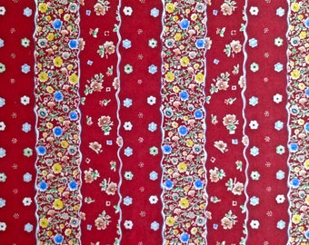 "Red Floral Stripe Marcus Bros. (Vintage) 1 and 2/3 yd long x 56"" wide"