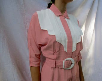 1970s Vintage PINK waitress dress- Made in USA