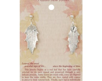 Real Pointed Oak Leaves Dipped In Silver - Post Dangle Earrings - Silver Electroplated - Carded