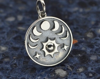 Sun and Phases of the Moon Charm Necklace - Solid 925 Sterling Silver - Insurance Included