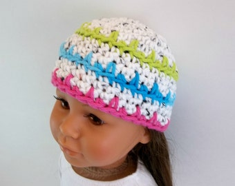 18 inch Doll Clothes Crochet Hat Fits American Girl Doll Fuschia Lime Green Turquoise White Striped Accessories Toys