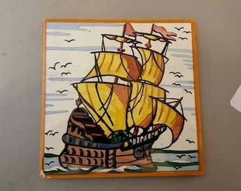 Vintage Hand Painted Ceramic Tile