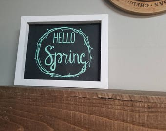 Hello Spring canvas and wood sign
