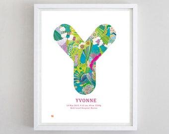 CUSTOMIZE nursery MONOGRAM A-Z - birth certificate,  newborn art print, personalized art print, monogram, custom print, typography,