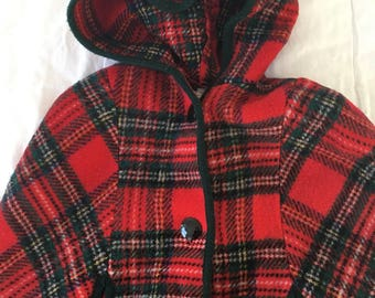 Vintage St Michael Plaid poncho/shawl with hood - kids age 7-8 - 100% wool - made in the UK - super rare