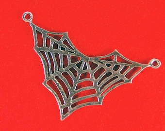 Pewter Spider Web Pendant Cut Out Double Link